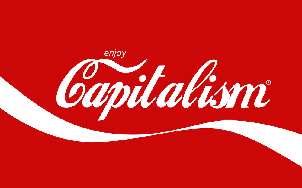 A picture that looks like CocaCola's logo but text is Enjoy Capitalism